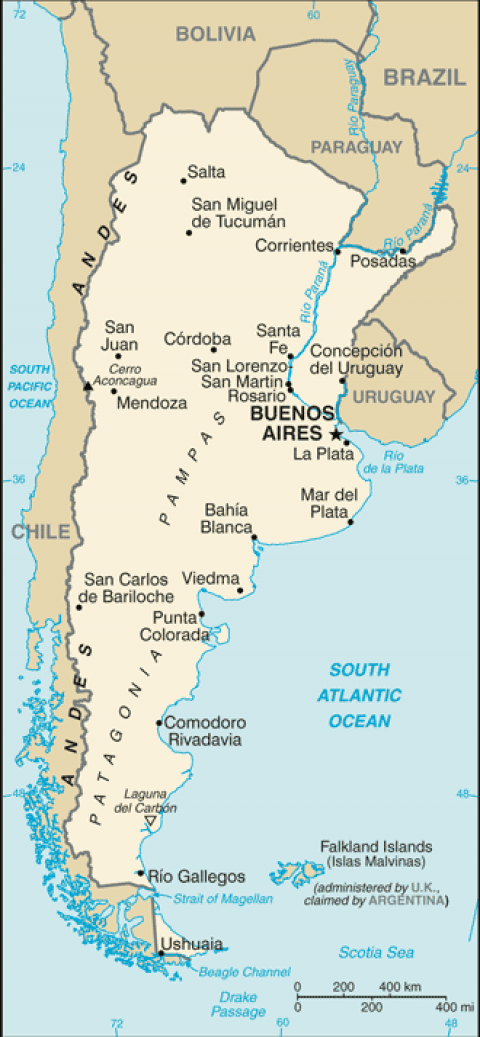 Argentina Places Map