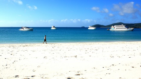Boats at Whitehaven Beach