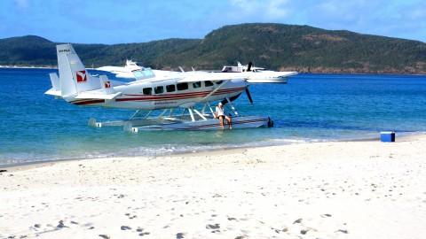 Seaplane on Whitsunday Beach