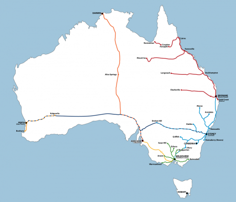 Australian Train Routes Map