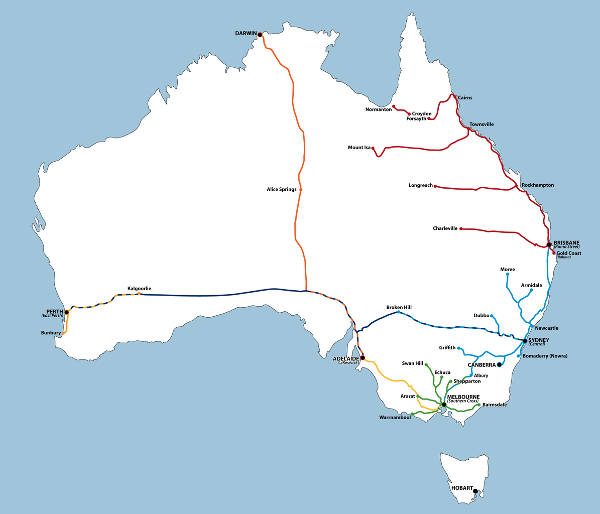 australian train routes map