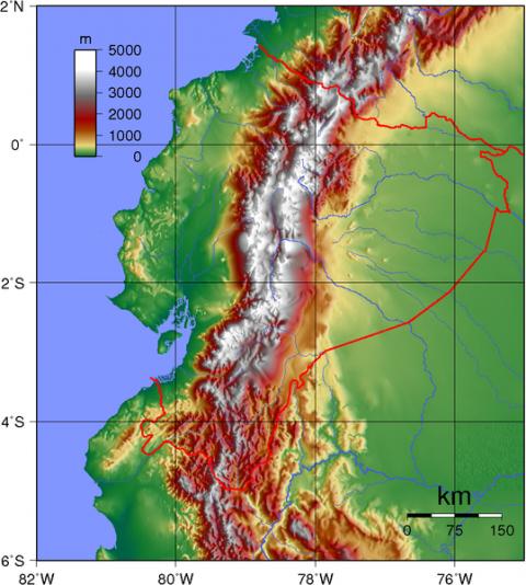 Ecuador Topography Map