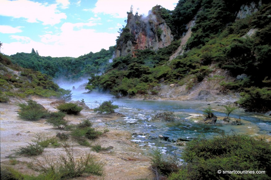 Runoff from Frying Pan Lake Waimangu Valley New Zealand