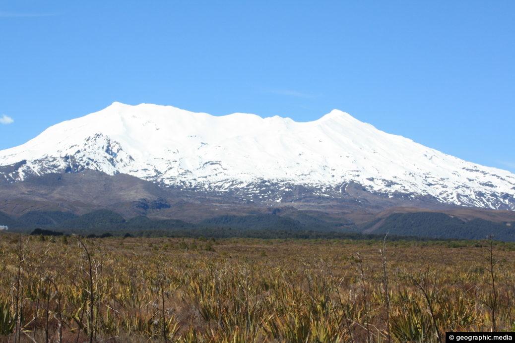 Snow capped Mt Ruapehu